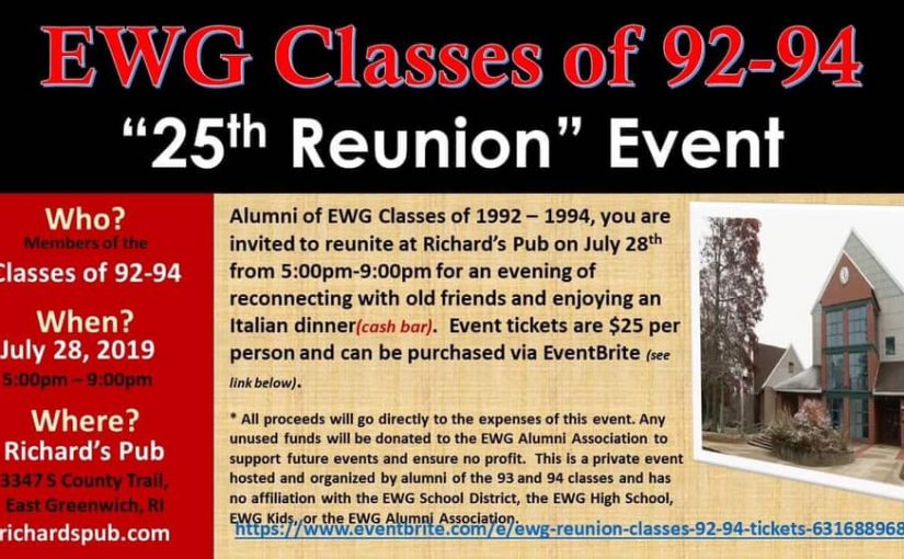 Class of 92, 93 & 94 Reunion July 28th!